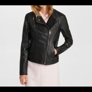 Karl Lagerfeld Textured Faux Leather Moto Jacket.